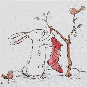 1枚バラ売りペーパーナプキン IHR ドイツ CHARMING SNOW RABBITS  かわいい雪うさぎ アニタジェラーム L-728100 デコパージュ ドリパージュ|ccpopo