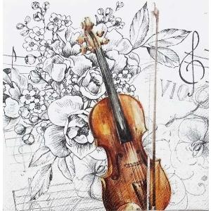 1枚バラ売り25cmペーパーナプキン IHR ドイツ バイオリン 音楽 花 フラワー BELLA MUSICA 804900 紙コースター デコパージュ ドリパージュ ccpopo