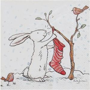 2枚1セット25cmペーパーナプキン IHR ドイツ 雪うさぎ CHARMING SNOW RABBITS アニタジェラーム Anita Jeram  デコパージュ ドリパージュ ccpopo