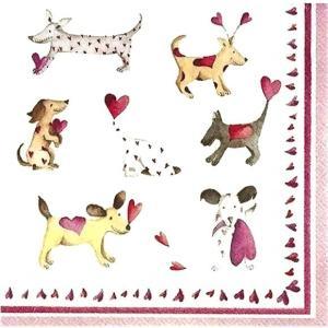 2枚1セット25cmペーパーナプキン IHR ドイツ 愛らしいワンコ達 犬 ドッグ LOVE HEART DOGS 808600 紙コースター デコパージュ ドリパージュ|ccpopo