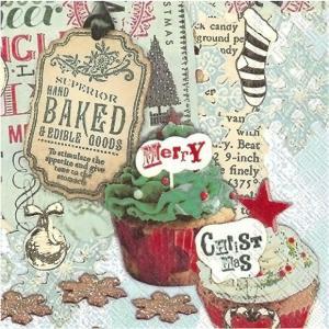 IHR ドイツ ペーパーナプキン  CHRISTMAS CUPCAKES クリスマスカップケーキ 749800 バラ売り2枚1セット デコパージュ ドリパージュ|ccpopo