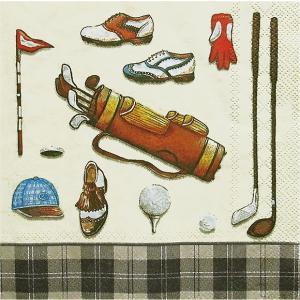 IHR ドイツ ペーパーナプキン ゴルフ用品 GOLF CLASSICS cream black バラ売り2枚1セット L-34967 デコパージュ|ccpopo