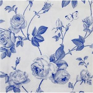 IHR ドイツ ペーパーナプキン つるばら 薔薇 ブルーローズ RAMBLING ROSE white blue バラ売り2枚1セット L-402094 デコパージュ ドリパージュ|ccpopo