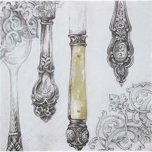 IHR ドイツ ペーパーナプキン ドイツ カトラリー スプーン 銀 シルバー Cutlery white silver バラ売り2枚1セット L-420895 デコパージュ|ccpopo