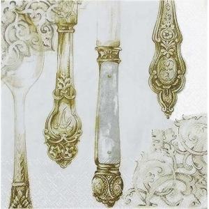 IHR ドイツ ペーパーナプキン ドイツ カトラリー スプーン 金 ゴールド Cutlery white gold バラ売り2枚1セット L-420899 デコパージュ|ccpopo