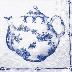 IHR ドイツ ペーパーナプキン ドイツ ブルーのティーポットと2つのカップ TEA FOR TWO white blue バラ売り2枚1セット L-478194 デコパージュ ドリパージュ|ccpopo
