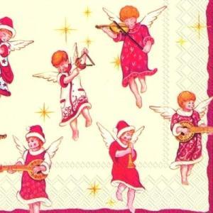 かわいいペーパーナプキン ドイツ製 Lunch napkins ANGELS CONCERT 天使のコンサート 音楽 楽器 2枚 L-559100 デコパージュ|ccpopo