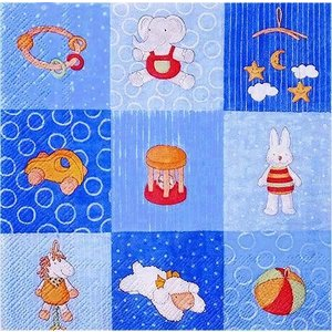 IHR ドイツ ペーパーナプキン ドイツ 乳幼児 ベビー おもちゃ BABIES TOYS blue バラ売り2枚1セット L-601040 デコパージュ|ccpopo