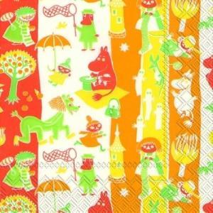 廃盤 かわいいペーパーナプキン ランチサイズ MOOMINVALLEY orange 2枚 L-704617 デコパージュ ドリパージュ|ccpopo