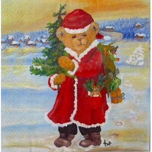 IHR ドイツ ペーパーナプキン ドイツ テディベア クリスマス サンタクロース SANTA BEAR バラ売り2枚1セット L-731700 デコパージュ ドリパージュ ccpopo