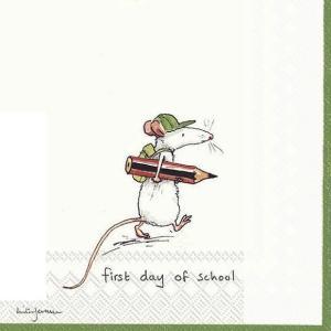 IHR ドイツ ペーパーナプキン アニタジュラーム FIRST DAY OF SCHOOL white バラ売り2枚1セット L-770790 デコパージュ ドリパージュ|ccpopo