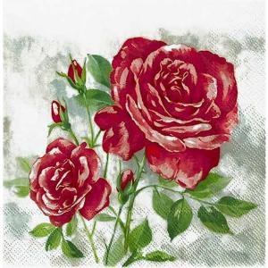 IHR ドイツ ペーパーナプキン ドイツ 薔薇 ローズ ブーケット ROSE BOUTIQUE red バラ売り2枚1セット L-774310 デコパージュ ドリパージュ|ccpopo