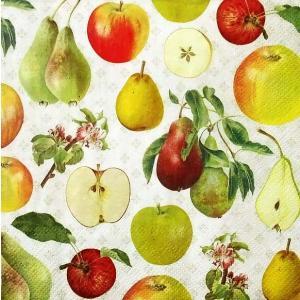 IHR ドイツ ペーパーナプキン ドイツ リンゴと梨 フルーツ APPLE AND PEAR cream バラ売り2枚1セット L-804560 デコパージュ ドリパージュ|ccpopo