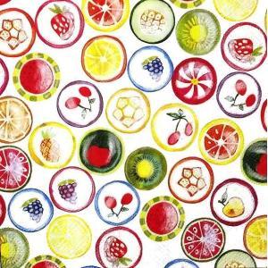 IHR ドイツ ペーパーナプキン ドイツ フルーツいっぱい TUTTI FRUTTI バラ売り2枚1セット L-804800 デコパージュ ドリパージュ|ccpopo