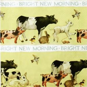 Emma Bridgewater イギリス ペーパーナプキン 動物 アニマル 牛 羊 ウサギ BRIGHT NEW MORNING バラ売り2枚1セット L-820700 デコパージュ ドリパージュ|ccpopo