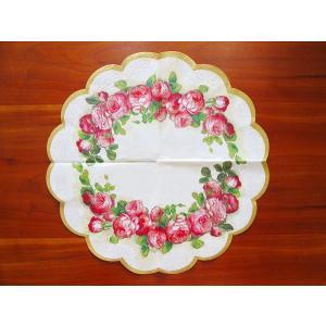 IHR ドイツ ペーパーナプキン ラウンド サークル 円型 バラ売り2枚1セット イングリッシュローズ 薔薇 花 R82460 デコパージュ ドリパージュ ラッピング|ccpopo