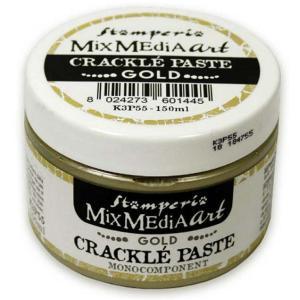 スタンペリア Stamperia ゴールドクラックルペースト 金 150 ml Gold Crackle Paste monocomponent K3P55 アンティーク調のひび割れを演出|ccpopo