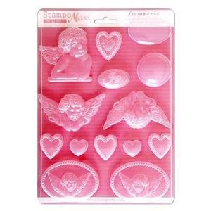 スタンペリア Stamperia イタリア A4 モールド 樹脂粘土型 抜き型 レジン型 ねんど型  彫刻 Mold Flexible pvc 天使とハート Angels and hearts K3PTA431|ccpopo