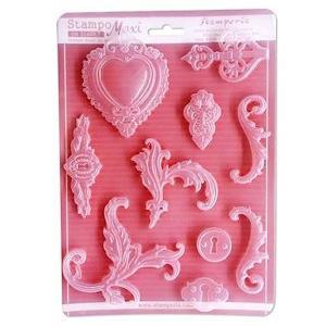 スタンペリア Stamperia イタリア A4 モールド 樹脂粘土型 抜き型 レジン型 ねんど型  彫刻 Mold Flexible pvc エレガントな模様 Time is an Illusion K3PTA438|ccpopo