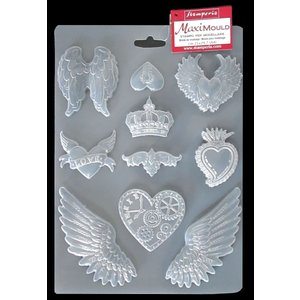 スタンペリア Stamperia イタリア A4 モールド 樹脂粘土型 レジン型 ねんど型 Mold Flexible pvc ハート 羽 Hearts and wings|ccpopo