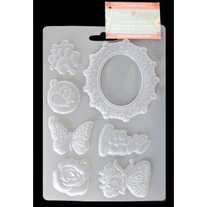 スタンペリア Stamperia A5 モールド 樹脂粘土型 抜き型 レジン型 ねんど型 彫刻 Mold Flexible pvc Circle of Love frame and butterfly 蝶 花 K3PTA572 ccpopo