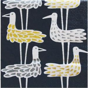 KLIPPAN クリッパン スウェーデン ペーパーナプキン ランチサイズ SHORE BIRDS BLUE バラ売り2枚1セット デコパージュ ドリパージュ|ccpopo