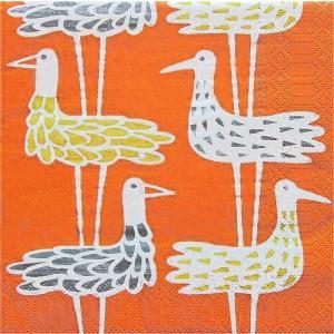 KLIPPAN クリッパン スウェーデン ペーパーナプキン ランチサイズ SHORE BIRDS ORANGE バラ売り2枚1セット デコパージュ ドリパージュ|ccpopo