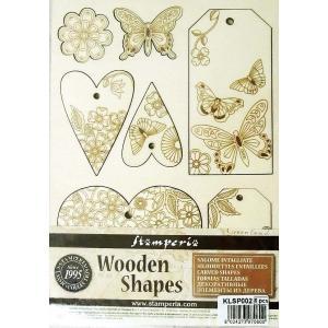 スタンペリア Stamperia イタリア 木製フレーム Wooden frames A5 size KLSP002 ミックスメディアアート ハート 蝶 タグ Hearts and Closure|ccpopo