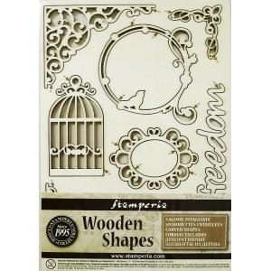 スタンペリア Stamperia イタリア 木製フレーム Wooden frames A5 size KLSP007 ミックスメディアアート Writings and corners|ccpopo