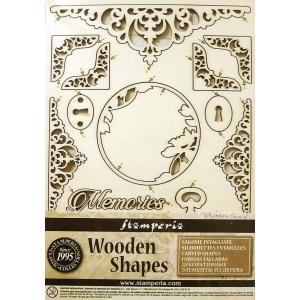 スタンペリア Stamperia イタリア 木製フレーム Wooden frames A5 size KLSP008 ミックスメディアアート キー 鍵 コーナー Keys and corners|ccpopo