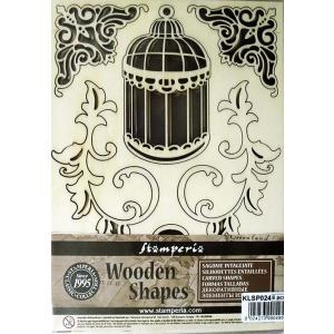 スタンペリア Stamperia イタリア 木製フレーム Wooden frames A5 size KLSP024 ミクストメディアアート 小さな鳥カゴと鍵 Little cage and keys|ccpopo