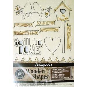 スタンペリア Stamperia イタリア 木製フレーム Wooden frames A5 size KLSP026 ミクストメディアアート Fall in Love 恋に落ちて 鳥 ハート タグ|ccpopo