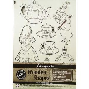 スタンペリア Stamperia イタリア 木製フレーム Wooden frames A5 size KLSP054 不思議の国のアリス Alice|ccpopo