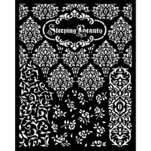 スタンペリア Stamperia ステンシルプレート 強化仕様 20x25cm デザインプレート 眠れる森の美女 テクスチャ Sleeping Beauty textures KSTD079|ccpopo