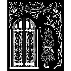 スタンペリア Stamperia イタリア ステンシルプレート 強化仕様 20x25cm デザインプレート モチーフ アリス ドア Alice door KSTD091|ccpopo