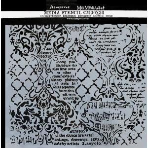 スタンペリア Stamperia イタリア 大型ステンシルプレート 強化仕様 30x30cm デザインプレート モチーフ KSTDG01 Wallpaper Music and Writtings ccpopo