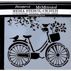 スタンペリア Stamperia イタリア ステンシルプレート 強化仕様 18x18cm デザインプレート モチーフ KSTDQ18 自転車 Bicycle|ccpopo