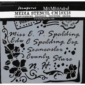 スタンペリア Stamperia イタリア ステンシルプレート 強化仕様 18x18cm デザインプレート モチーフ KSTDQ19 Letter|ccpopo