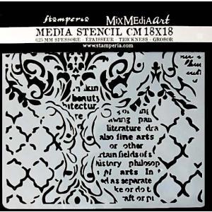 スタンペリア Stamperia イタリア ステンシルプレート 強化仕様 18x18cm デザインプレート モチーフ KSTDQ35 Wallpaper 壁紙 音楽と手紙 Music and Writtings ccpopo