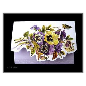おしゃれで可愛い カード&封筒1組 セット パンジーガーデン|ccpopo