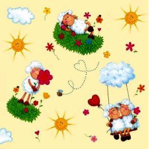 Maki ポーランド ペーパーナプキン happy sheep cream バラ売り2枚1セット SLOG-009701 デコパージュ ドリパージュ|ccpopo
