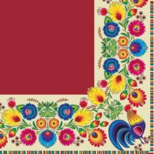 Maki ポーランド ペーパーナプキン Lunch napkins pattern border cream/red バラ売り2枚1セット SLOG-016804