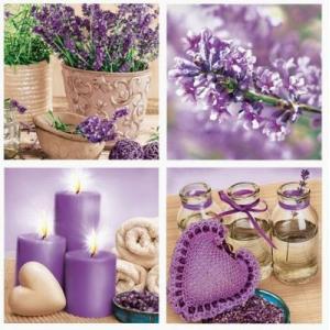 Maki ポーランド ペーパーナプキン Lunch napkins 紫のハートとロウソクと花 バラ売り2枚1セット SLOG-023901