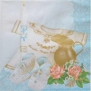 Maki ポーランド ペーパーナプキン 洗礼 Taufe blue バラ売り2枚1セット SLCH-000503 デコパージュ ccpopo