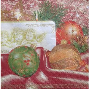 Maki ポーランド ペーパーナプキン Lunch napkins nostalgia cream/red バラ売り2枚1セット SLGW-005801