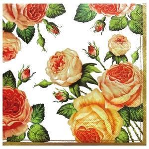 Maki ポーランド ペーパーナプキン Lunch napkins ノスタルジアローザ 薔薇 花 フラワー nostalgia rosa roses バラ売り2枚1セット SLOG-003401 ccpopo