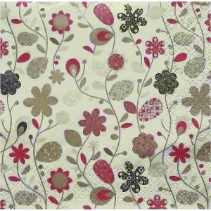 Maki ポーランド ペーパーナプキン Lunch napkins  Flowers cream バラ売り2枚1セット SLOG-011801