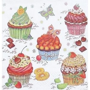 Maki ポーランド ペーパーナプキン Lunch napkins Party Cupcakes バラ売り2枚1セット SLOG-023401