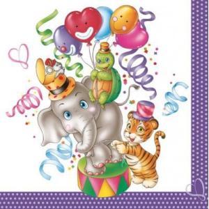 Maki ポーランド ペーパーナプキン 愉快な象と仲間 lustiger Elefant バラ売り2枚1セット SLOG-030901 デコパージュ ドリパージュ|ccpopo