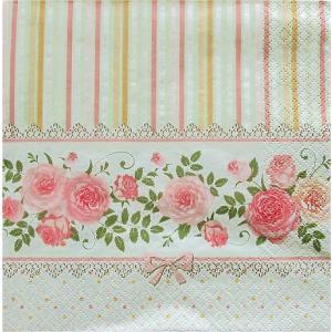 Maki ポーランド ペーパーナプキン English Roses & Stripes バラ売り2枚1セット SLOG-032101 デコパージュ ドリパージュ|ccpopo